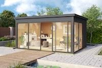 Weka Designhaus 412 Gr. 2 mit Glasschiebetür (Homeoffice-Gartenhaus) - 44 mm