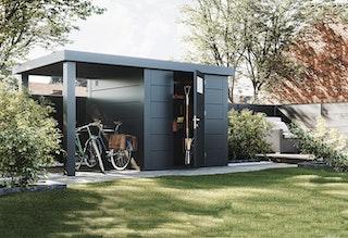 Wolff Finnhaus Metallgerätehaus Eleganto 2424 mit 170 cm Seitendach
