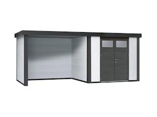 Wolff Finnhaus Metallgerätehaus Eleganto 2724 mit Lounge Anbau