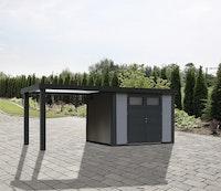 Wolff Finnhaus Metallgerätehaus Eleganto 2724 mit 280 cm Seitendach