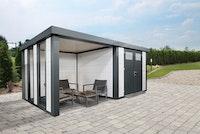 Wolff Finnhaus Metallgerätehaus Eleganto 2724 mit Lounge Anbau inkl. 2 Fenster