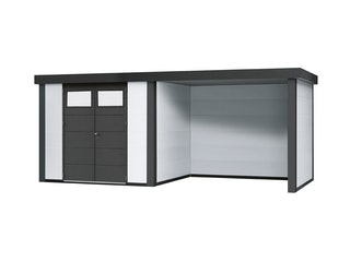 Wolff Finnhaus Metallgerätehaus Eleganto 3024 mit Lounge Anbau