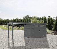 Wolff Finnhaus Metallgerätehaus Eleganto 3024 mit 280 cm Seitendach