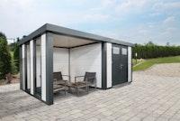 Wolff Finnhaus Metallgerätehaus Eleganto 3024 mit Lounge Anbau inkl. 2 Fenstern