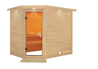 Karibu Sauna Tanami - Massivholzsauna mit Eckeinstieg 40 mm