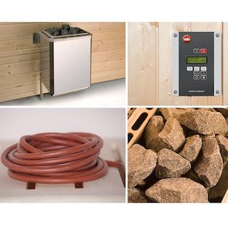 Weka Saunaofen-Set 8 inkl. 9 kW BioAktiv Ofen mit Dampfbad-Funktion, Anschlusskabel, Saunasteine, Steuergerät