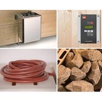 Weka Saunaofen-Set 6 inkl. 4,5 kW BioAktiv Ofen mit Dampfbad-Funktion, Anschlusskabel, Saunasteine, Steuergerät