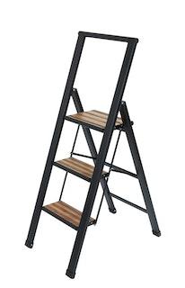 Wenko Alu-Design Klapptrittleiter 3-stufig, schwarz mit Bambus
