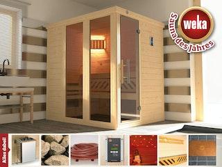 Weka Premium Massivholz-Elementsauna Kemi Panorama 1 mit Glastür+2 Fenster und Sternenhimmel - 45 mm
