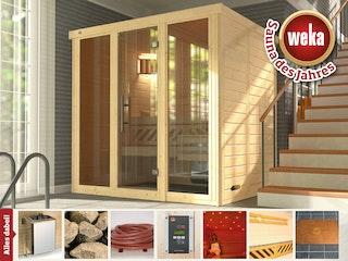 Weka Premium Massivholz-Elementsauna Kemi Panorama 2 mit Glastür+2 Fenster und Sternenhimmel - 45 mm