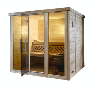 Weka Premium Massivholz-Elementsauna Kemi Panorama 3 mit Glastür+2 Fenster und Sternenhimmel - 45 mm