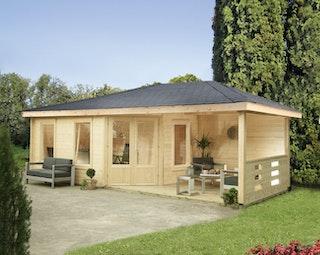 Wolff Finnhaus Gartenhaus Anna 40-A/1+2-Raum mit 250 cm Terrasse inkl. gratis Fundamentanker/Pads