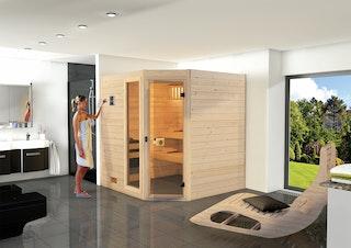 Weka Sauna Valida Eck 1.8 mit Glastür/Fenster- Massivholzsauna 38 mm