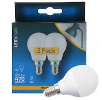 Shada  LED Glühlampe Birne 2-St.-Verpackung G45 E14 5W 470LM 2700K nicht dimmbar 150°