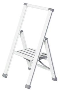 Wenko Alu-Design Klapptrittleiter 1-stufig, weiß