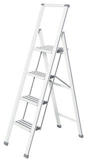 Wenko Alu-Design Klapptrittleiter 4-stufig, weiß