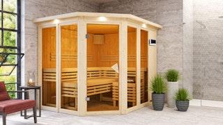 Karibu Sauna Ainur 3 Superior mit Eckeinstieg 68 mm
