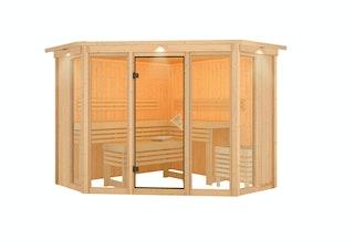 Karibu Sauna Alcinda 2 Superior mit Eckeinstieg 68 mm
