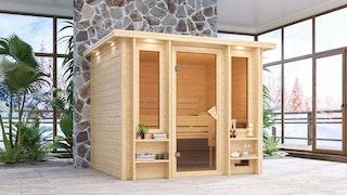 Karibu Sauna Ilona - 40 mm Premiumsauna - Fronteinstieg
