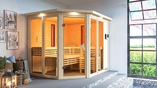 Karibu Multifunktions-Sauna Ava inkl. Infrarotstrahler mit Eckeinstieg 68 mm