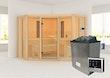 Karibu Multifunktions-Sauna Asta inkl. Infrarotstrahler mit Eckeinstieg 68 mm