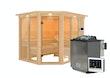 Karibu Sauna Ainur 3 Superior mit Eckeinstieg 68 mm Sparset