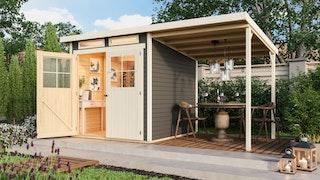 Karibu Eco Gartenhaus Grebenau / Glücksburg 2/3/4 mit 190 cm Schleppdach