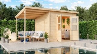 Karibu Eco Gartenhaus Merseburg 6 inkl. Anbaudach - Sparset