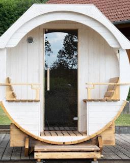 Wolff Finnhaus Saunafass Premium Finja: Tausch der Einzeltür in Glastür
