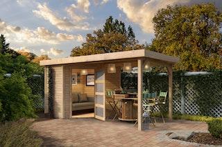 Karibu Woodfeeling Gartenhaus Schwandorf 3/5 inkl. 275 cm Schleppdach - 19 mm