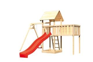 Akubi Kinderspielturm Lotti mit Satteldach inkl. Wellenrutsche, Einzelschaukelanbau und Anbauplattform XL