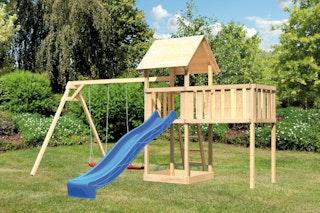 Akubi Kinderspielturm Lotti mit Satteldach inkl. Wellenrutsche, Doppelschaukelanbau und Anbauplattform XL