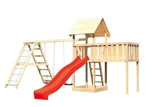 Akubi Kinderspielturm Lotti mit Satteldach inkl. Wellenrutsche, Doppelschaukelanbau, Klettergerüst und Anbauplattform XL