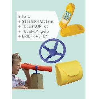 Akubi Spiel Set inkl. Steuerrad blau, Teleskop rot, Telefon gelb, Briefkasten gelb
