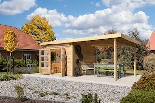 Karibu Woodfeeling Gartenhaus Kandern 3/6/6,5/7/9 mit 300 cm Schleppdach