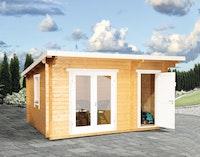 Wolff Finnhaus Gartenhaus Trondheim 44-D 2-Raum isolierverglast inkl. gratis Fundamentanker/Pads