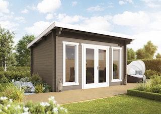 Wolff Finnhaus Gartenhaus Trondheim 44-D isolierverglast inkl. gratis Fundamentanker/Pads