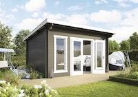 Wolff Finnhaus Gartenhaus Trondheim 44-D isolierverglast XL inkl. gratis Fundamentanker/Pads
