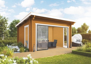 Wolff Finnhaus Gartenhaus Trondheim 44-D isolierverglast XL mit Schiebetür inkl. gratis Fundamentanker/Pads