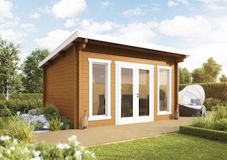 Wolff Finnhaus Gartenhaus Trondheim 44-G isolierverglast XL inkl. gratis Fundamentanker/Pads