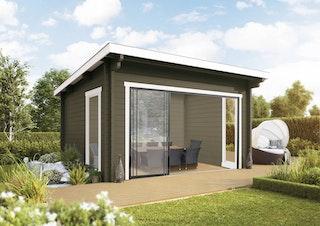 Wolff Finnhaus Gartenhaus Trondheim 44-G isolierverglast XL mit Schiebetür inkl. gratis Fundamentanker/Pads