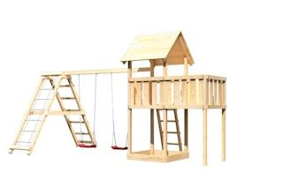 Akubi Kinderspielturm Lotti inkl. Doppelschaukelklettergerüst und Anbauplattform