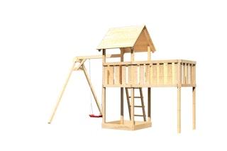 Akubi Kinderspielturm Lotti inkl. Einzelschaukel und Anbauplattform XL
