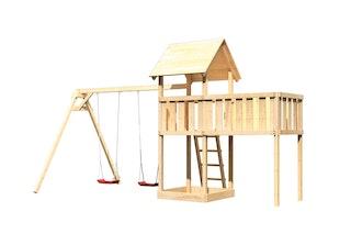 Akubi Kinderspielturm Lotti inkl. Doppelschaukel und Anbauplattform XL
