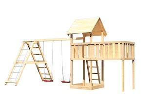 Akubi Kinderspielturm Lotti inkl. Doppelschaukel, Klettergerüst und Anbauplattform XL