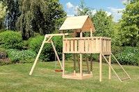 Akubi Kinderspielturm Lotti inkl. Einzelschaukel, Anbauplattform und Netzrampe