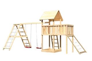 Akubi Kinderspielturm Lotti inkl. Doppelschaukel, Klettergerüst, Anbauplattform und Netzrampe