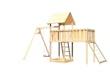Akubi Kinderspielturm Lotti inkl. Einzelschaukel, Anbauplattform XL und Netzrampe