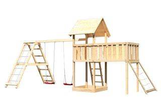 Akubi Kinderspielturm Lotti inkl. Doppelschaukel, Klettergerüst, Anbauplattform XL und Netzrampe