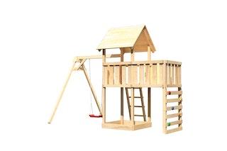 Akubi Kinderspielturm Lotti inkl. Einzelschaukel, Anbauplattform und Kletterwand